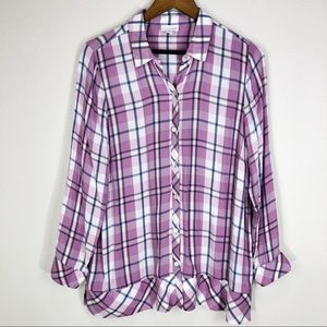 J.JILL Lavender Purple Plaid Shirt Petite LARGE